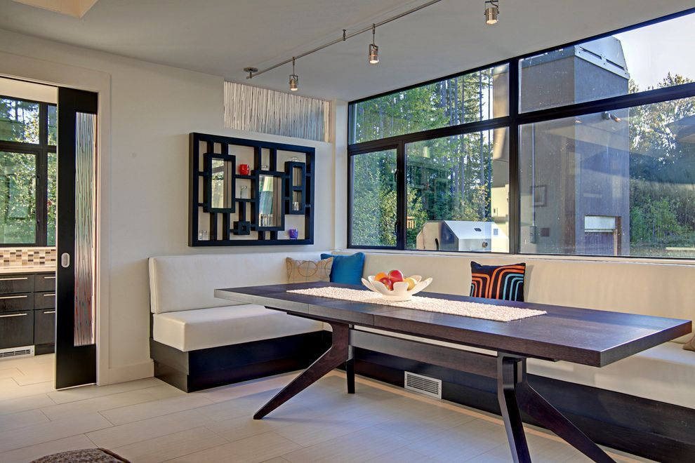 Modern Banquette Seating For Contemporary Dining Room And Pillows