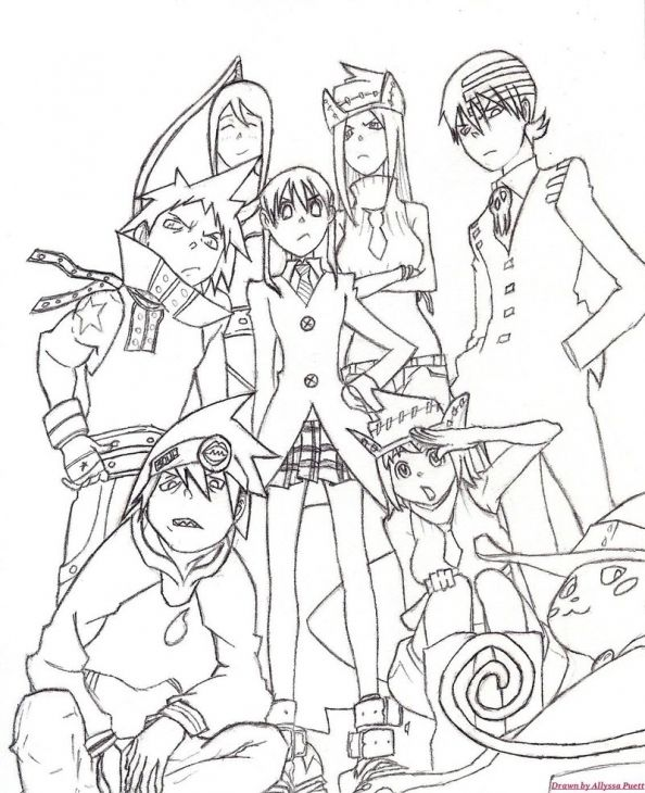 All characters from soul eater coloring page