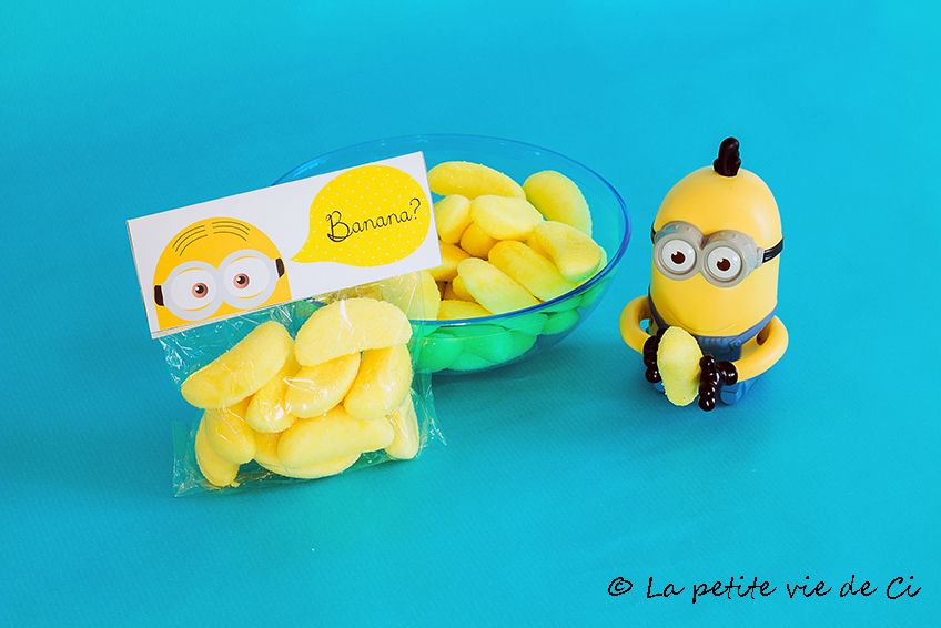 anniversaire th me minions id e petit sachet bonbons pour les invit s birthday minions. Black Bedroom Furniture Sets. Home Design Ideas