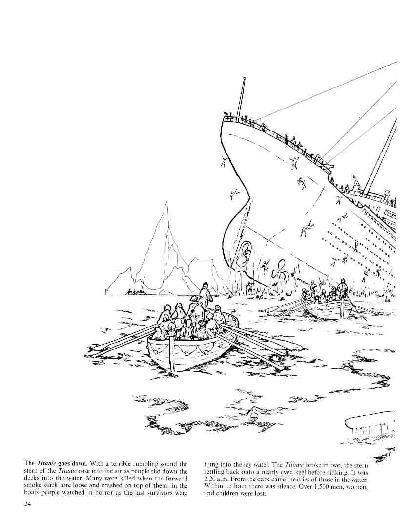 the titanic goes down lh titaniccoloring pagesfactsbookcolouring