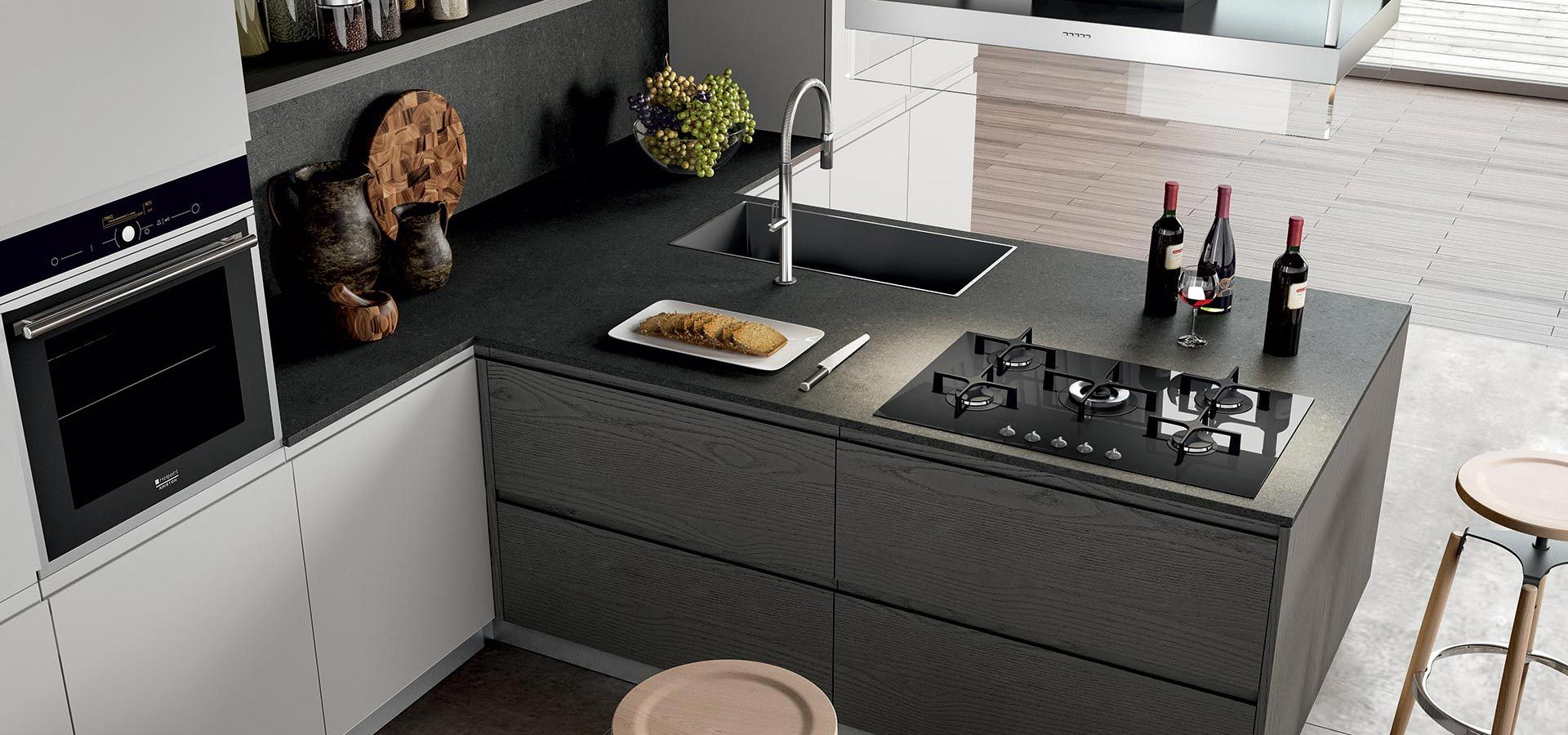 Cucina moderna wega finitura impiallacciato rovere - Okite piano cucina ...