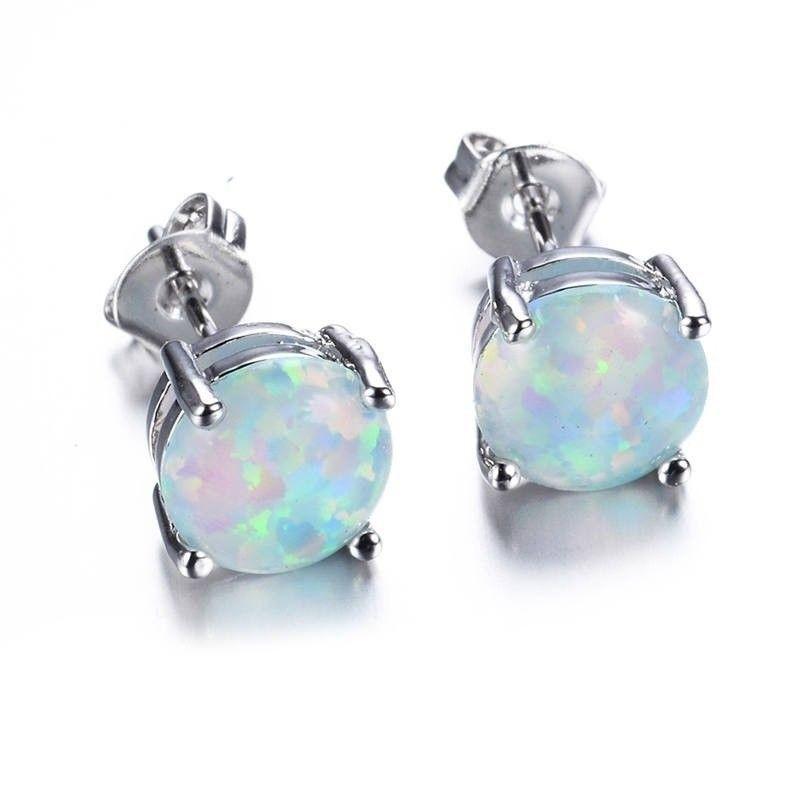 Women 925 Sterling Silver Stud Earrings Round Cut Fire Opal Jewelry