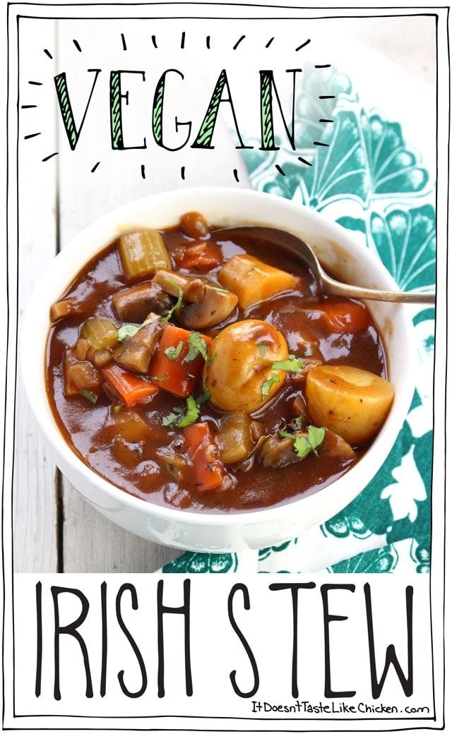 Vegan Irish Stew! Perfect for St. Patrick's Day. Hearty vegetables in a rich, earthy, thick stout beer broth. It's a stick to your ribs kinda stew! #itdoesnttastelikechicken #veganrecipes #stew #stpatricksday