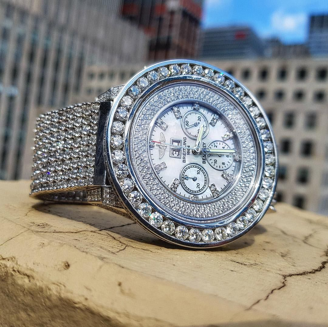 Fully Iced Out 42 45ct Diamond Breitling 1884 Bentley Men S