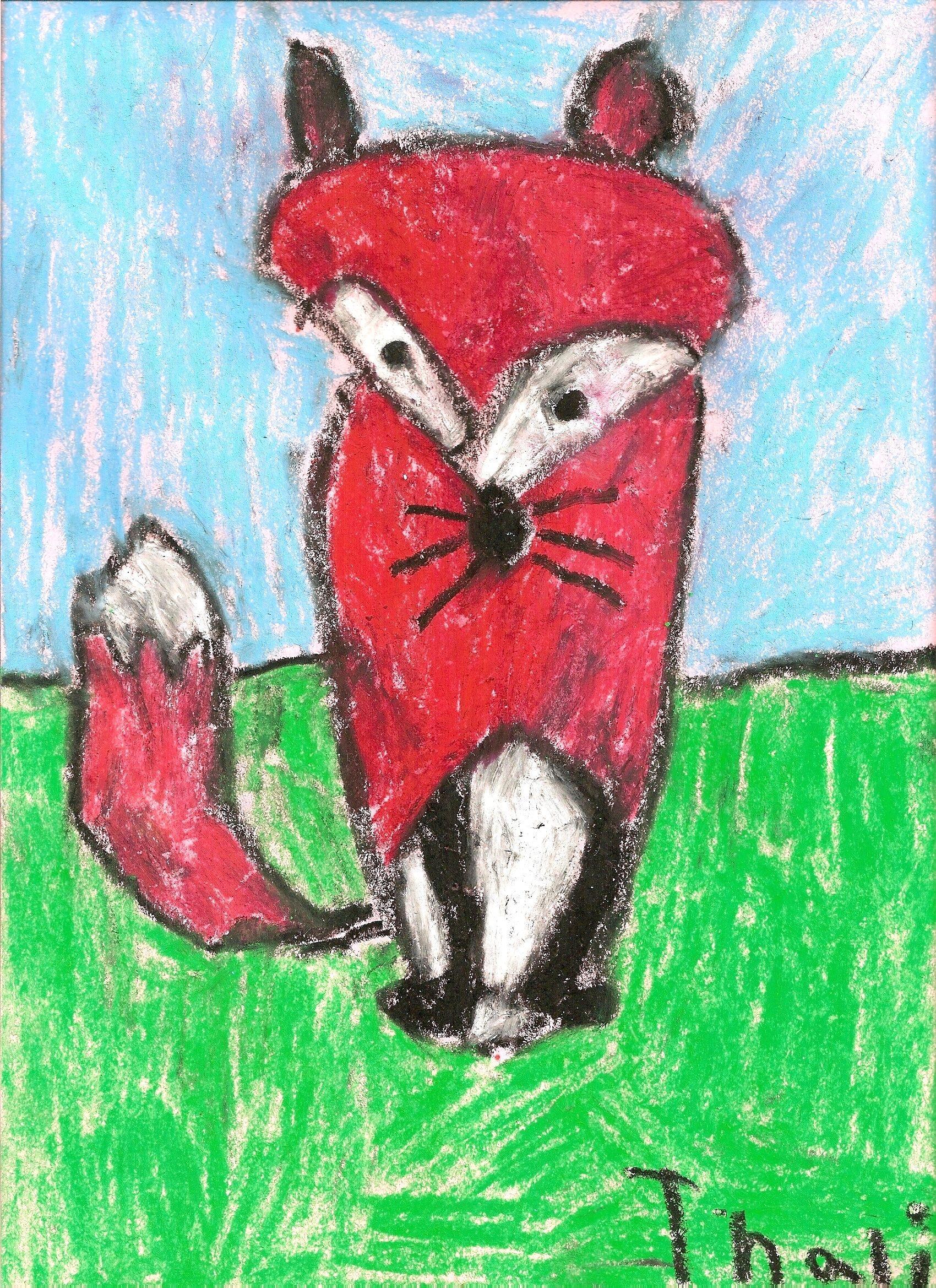 Red Fox by Thalia  Oil Pastel