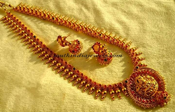 1 gram gold jewellery long haram sarees Pinterest Gold