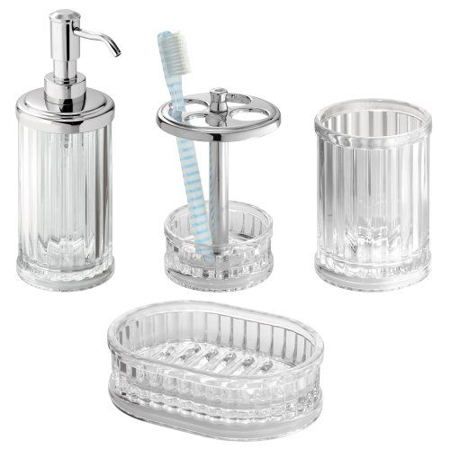 Interdesign Alston Bath Accessory Set Soap Dispenser Pump Magnificent Clear Bathroom Accessories Design Decoration