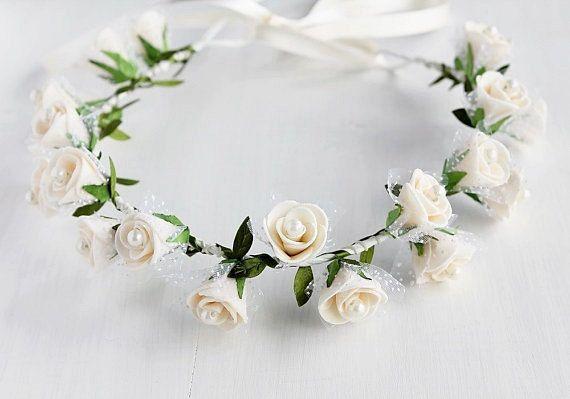 Crema rosa corona Halo de boda nupcial cabeza guirnalda 40ed7bc5de78