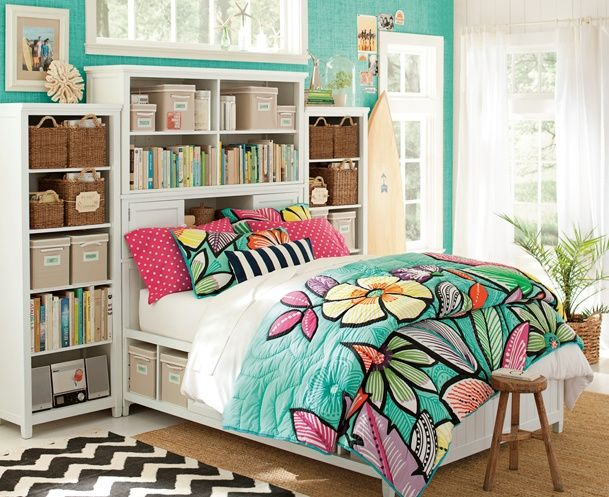 PB Teen Bedroom with Surfboard Bright Bedding Summer Bedding