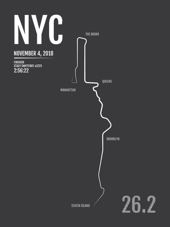 Map Of New York Marathon 2017.New York City Marathon Print 2018 Or 2017 Nyc Personalized Poster