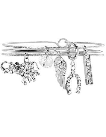A whimsical way to shine up your look, our trio of bracelets sparkles with elephant, horseshoe and more lucky charms. #LaneBryant