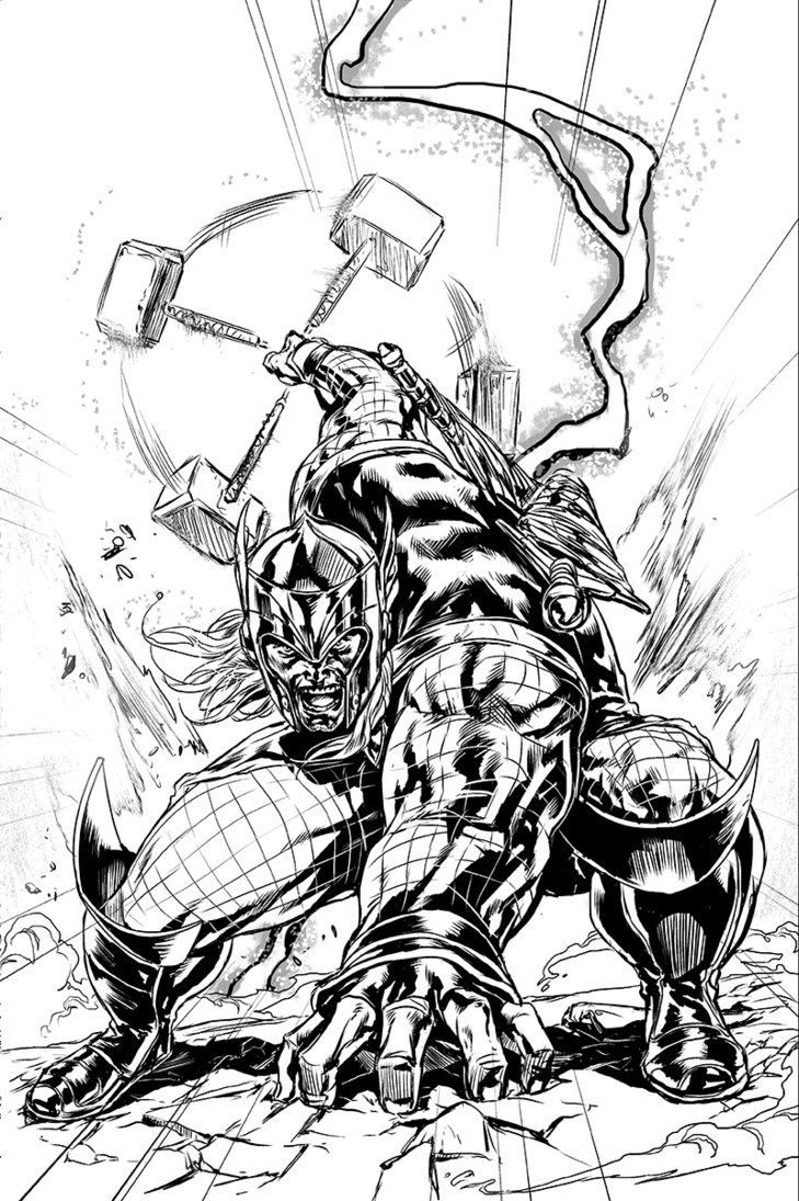 Thor by caanan white superhero coloring pages marvel now