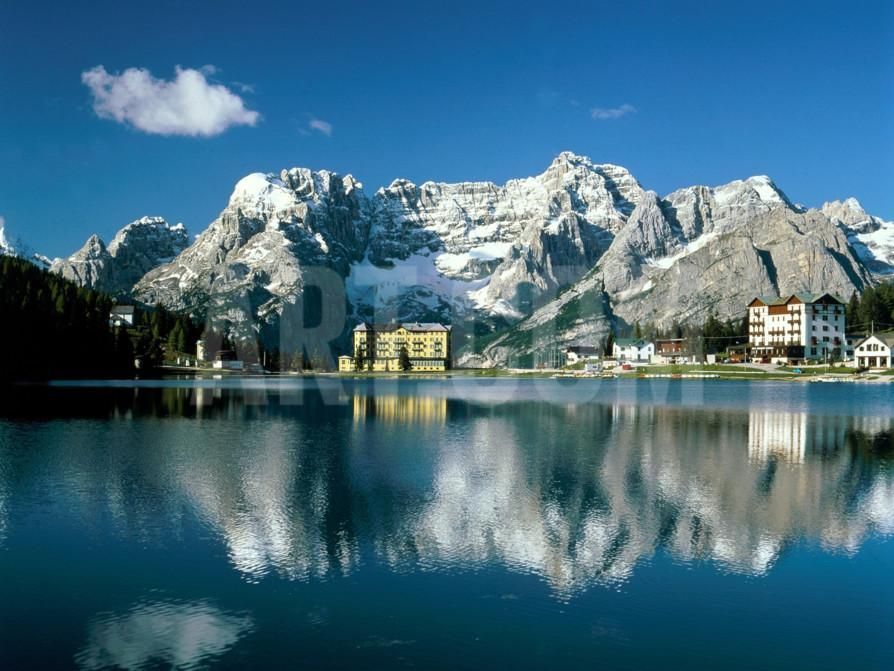 View of town, Lake Misurina, Alps, Italy Photographic Print by Manfred Mehlig at Art.com