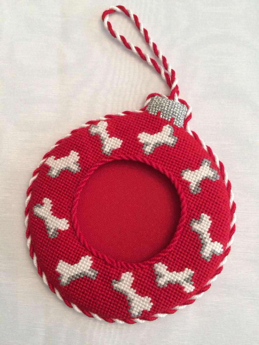 Doggy Bone Needlepoint Frame Ornament | Beautiful Needlepoint 7 ...