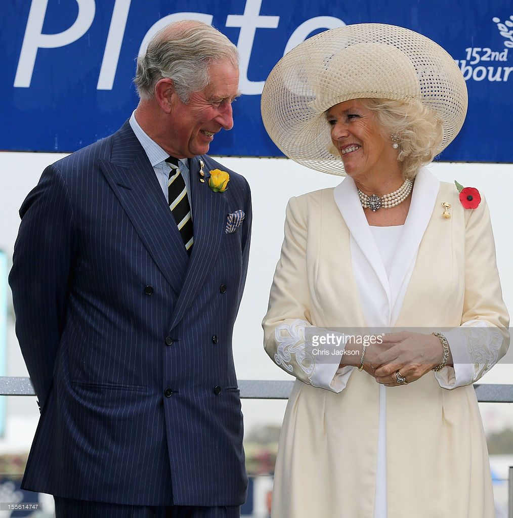 Camilla, Duchess of Cornwall and Prince Charles, Prince of Wales share a joke as they attend the 2012 Melbourne Cup at Flemington Racecourse on November 6, 2012 in Melbourne, Australia. The Royal couple are in Australia on the second leg of a Diamond Jubilee Tour taking in Papua New Guinea, Australia and New Zealand.