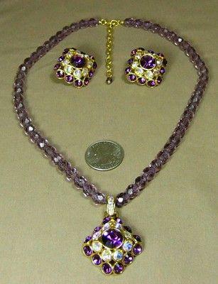 Trifari TM 1998 Necklace & Earrings Purple AB Rhinestones Purple Glass Beads