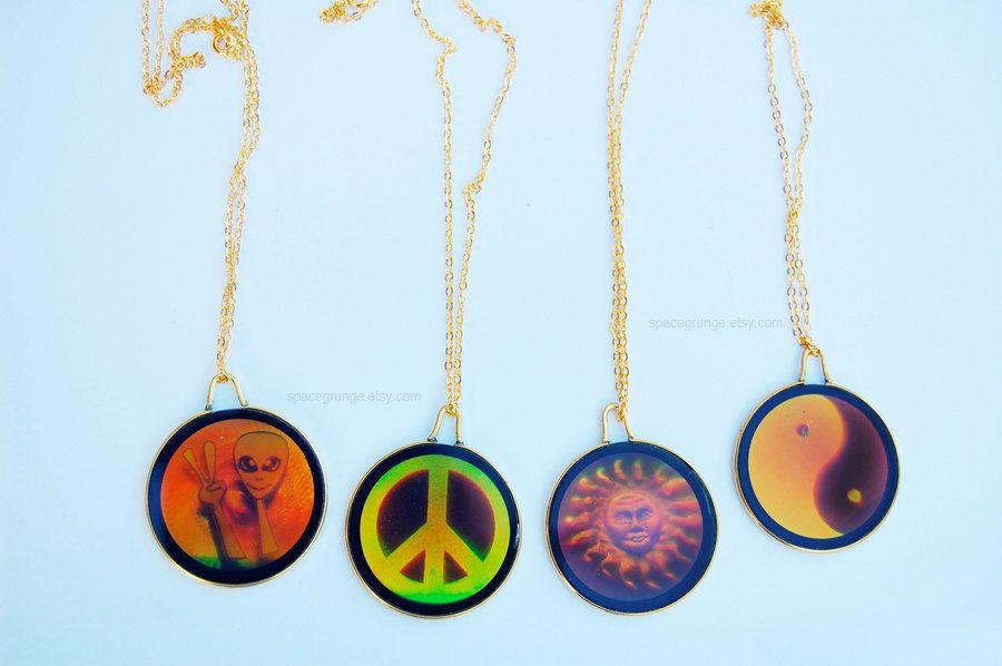 Vtg 90s grunge hologram necklace on gold chain hologram necklace 90s hologram necklaces mozeypictures Images