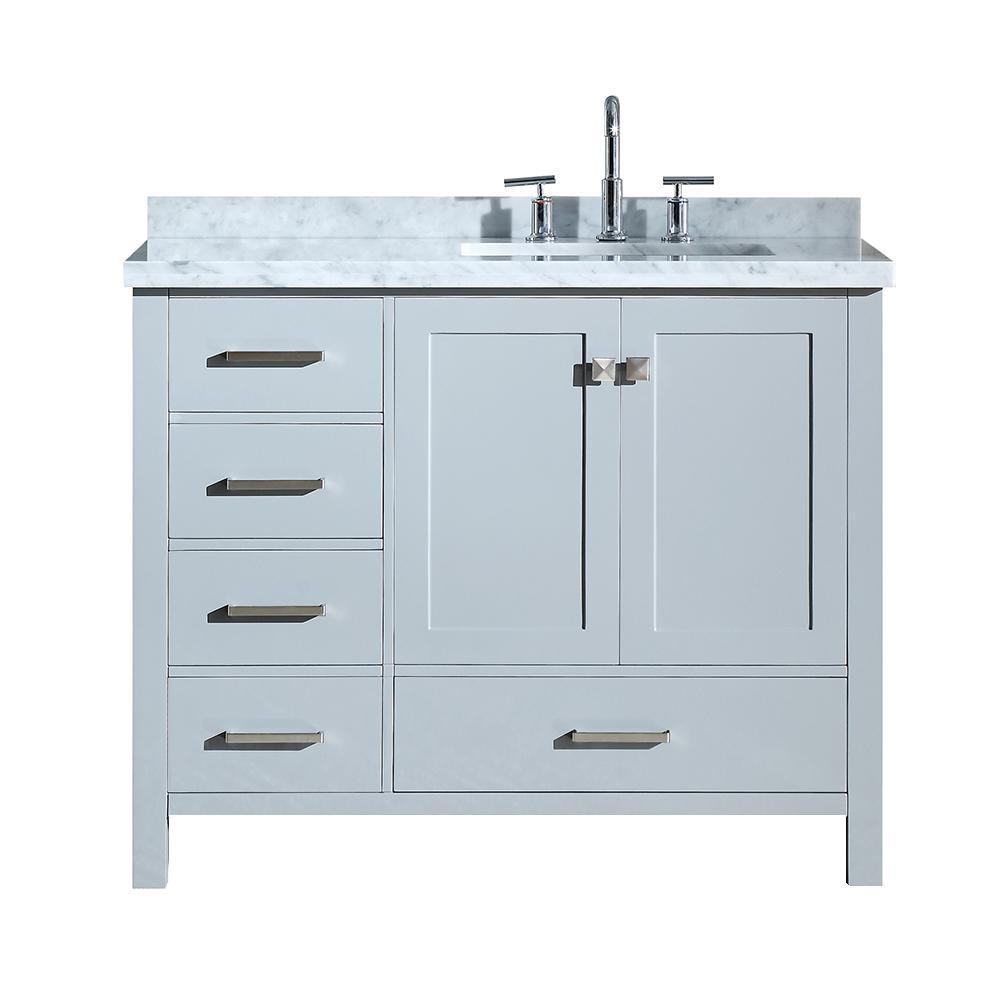 Ariel Cambridge 43 In Bath Vanity In Grey With Marble Vanity Top In Carrara White With White Ba Single Bathroom Vanity Marble Vanity Tops Bathroom Sink Vanity