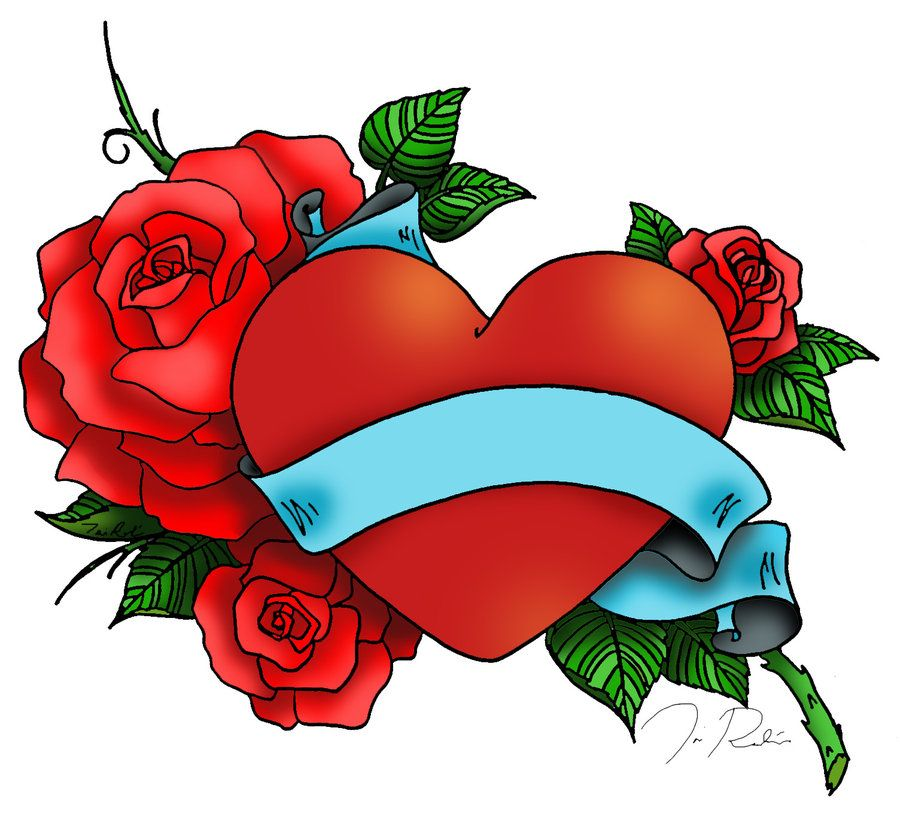 Heart and Roses Tattoo Drawings Heart and Rose Tattoo by - copy coloring pages with hearts and flowers