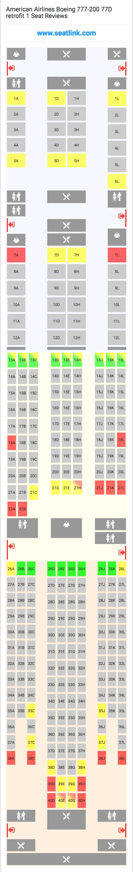 american airlines boeing 777 200 77d retrofit 1 772 seat map