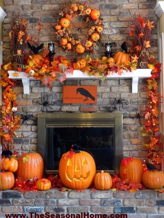 decorated fall fireplace way more than I would do at one time, but