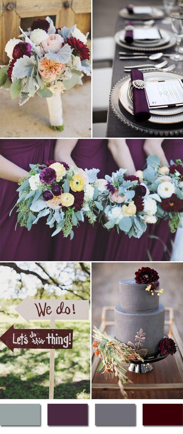 plum and grays fall wedding color ideas, purple wedding colors ...