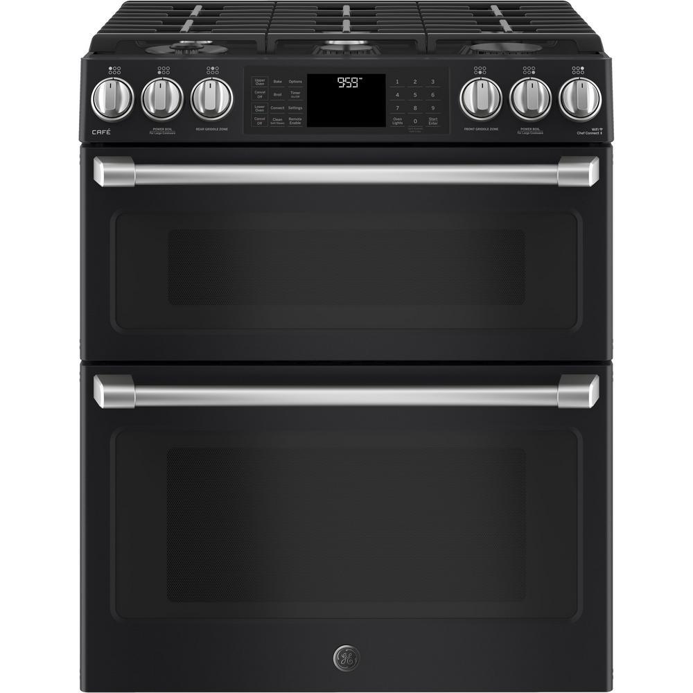 Ge Cafe 6 7 Cu Ft Slide In Double Oven Smart Dual Fuel Range