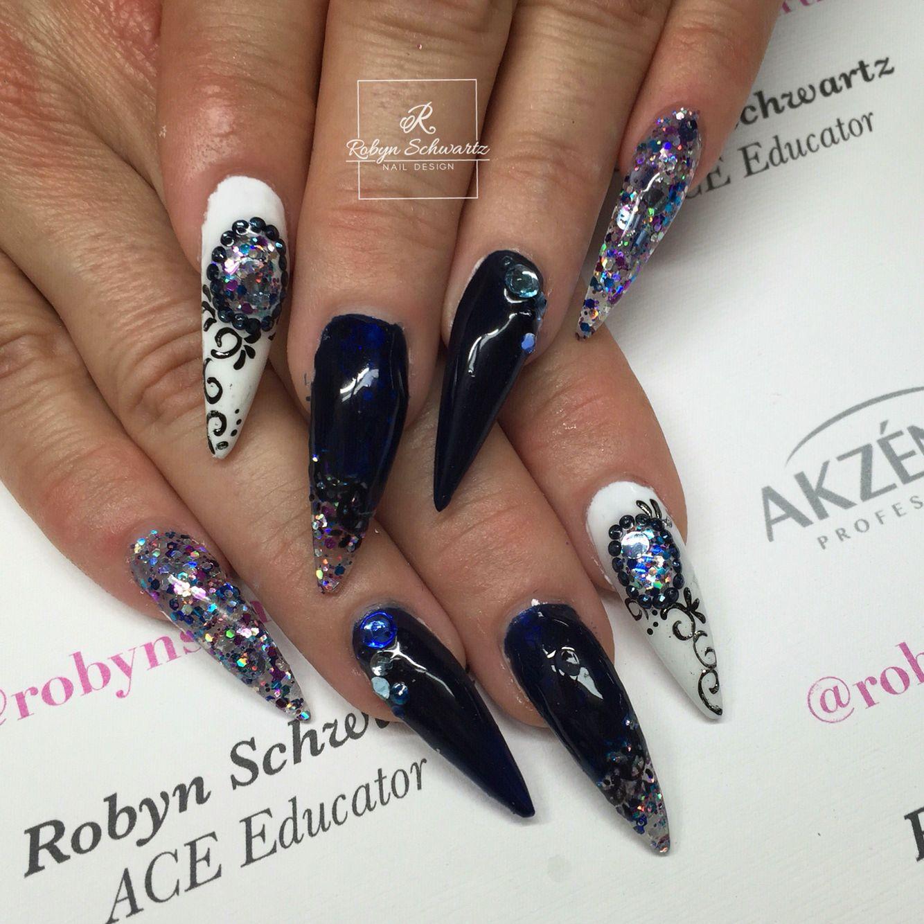 Gorgeous blue and glittery stiletto gel nails | Nail Art | Pinterest