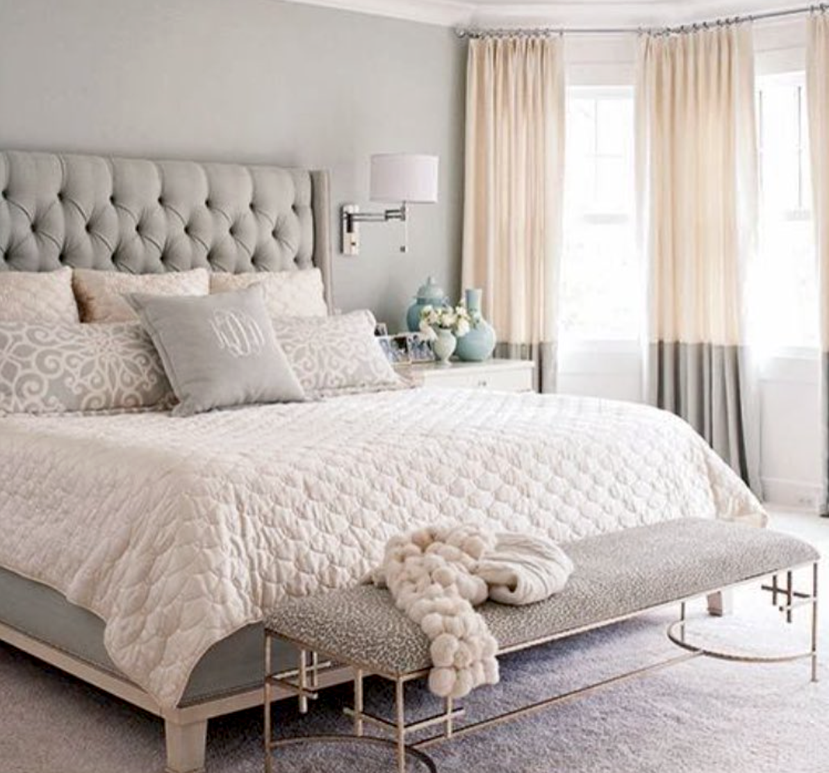 White bedroom ideas for women - Bedroom Decor Ideas Transitional Style Light Grey Cream And White Color Palette Tufted Headboard Bench Drum Wall Sconces Above Side Tables And Full