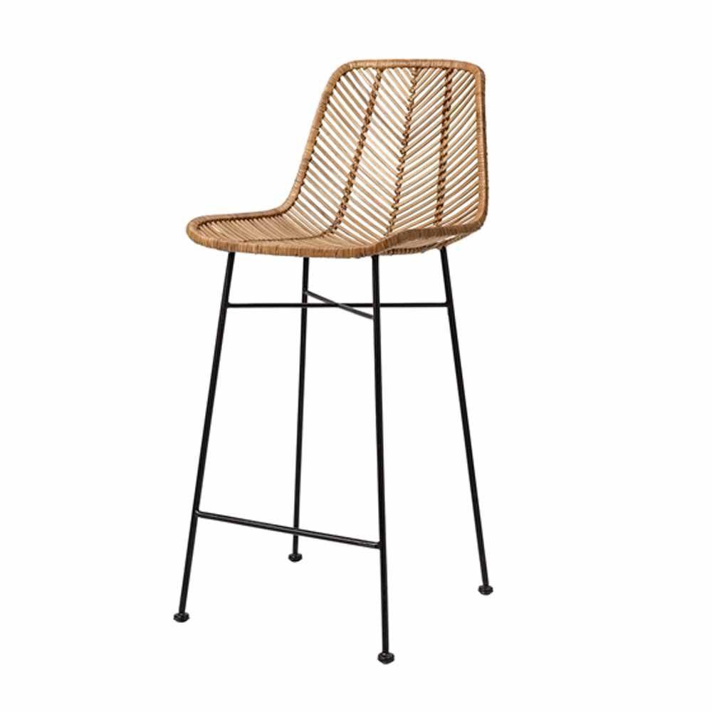 Barhokcker indus von bloomingville bietet dank vorgeformter sitzfl che hohen sitzkomfort der - Barstuhl rattan ...