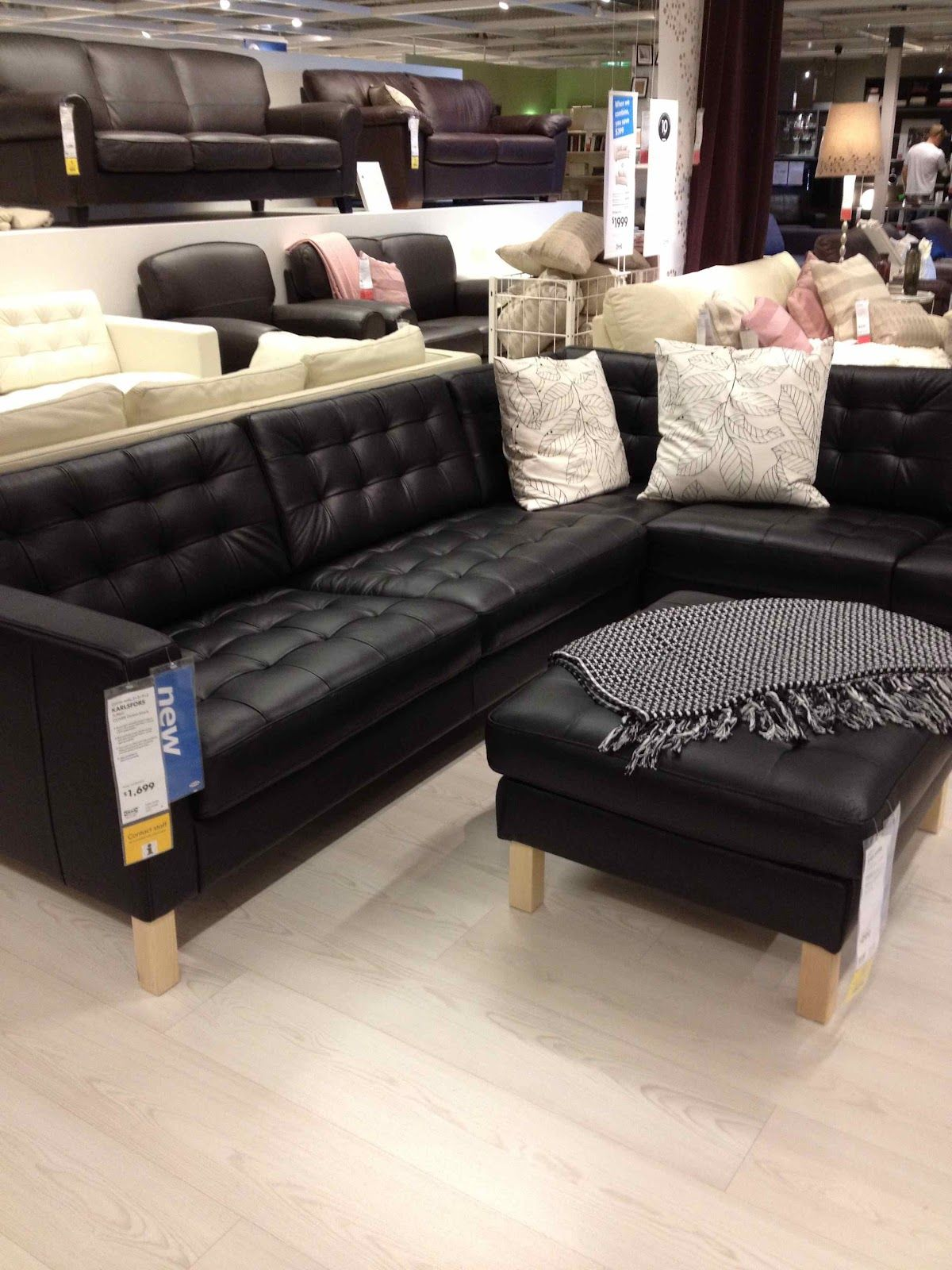 Ikea Karlsfors Black Faux Leather Couch Ikea Leather Sofa Couch Furniture