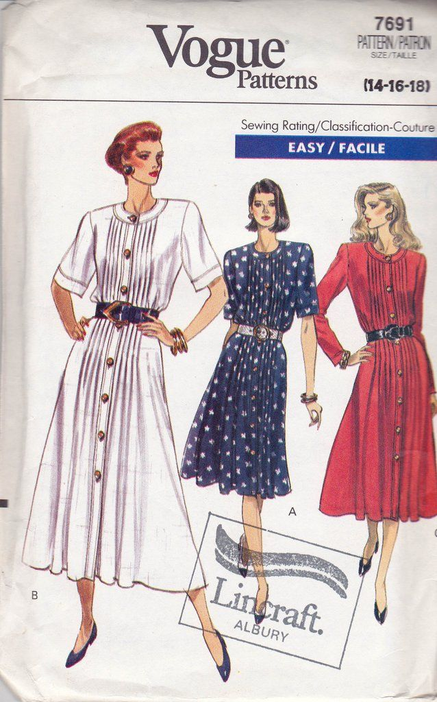 Vogue 7691 Pleated Fit & Flare Dress 80s Vintage Sewing Pattern Size ...