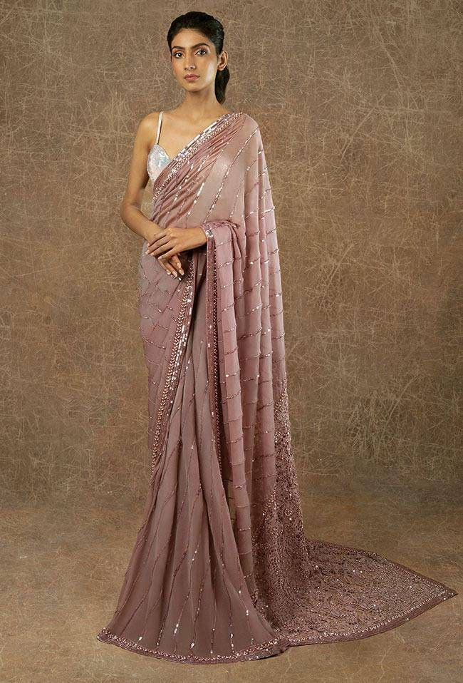 Photo of Onion Colore Designer Saree with Embroidery sequency work | Etsy