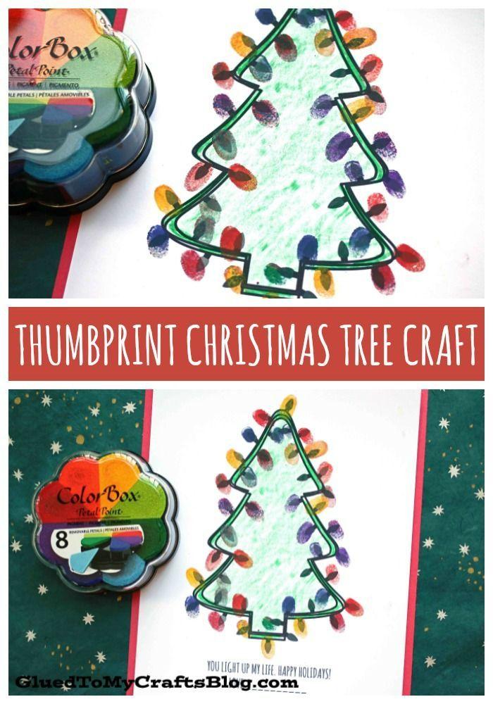 Thumbprint Christmas Tree Kid Craft Idea W Free Printable Preschool Christmas Crafts Preschool Christmas Christmas Tree Crafts