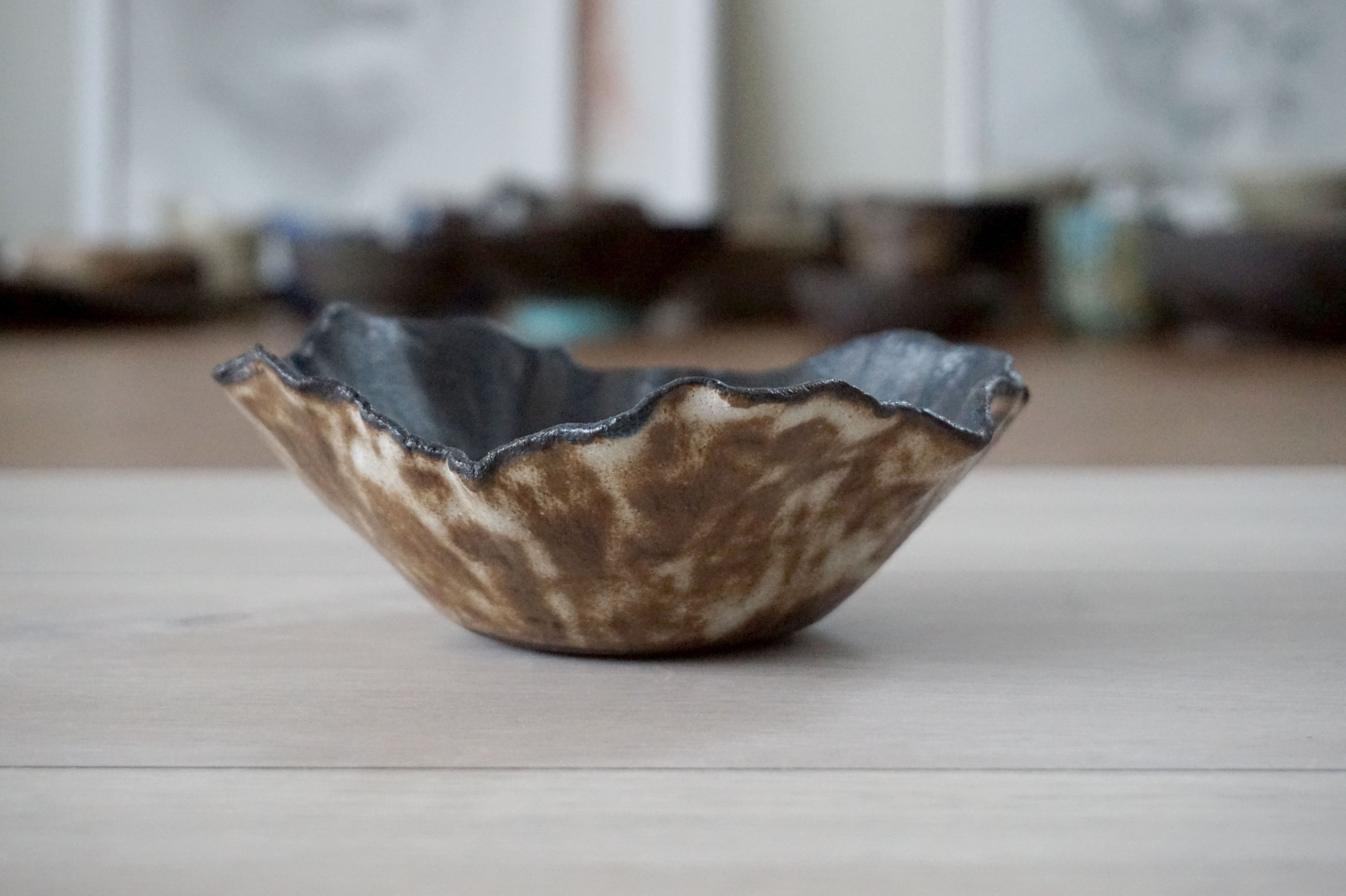 TaKo - small serving bowl - for sweets, nuts or berries :) Stoneware black clay + glazes