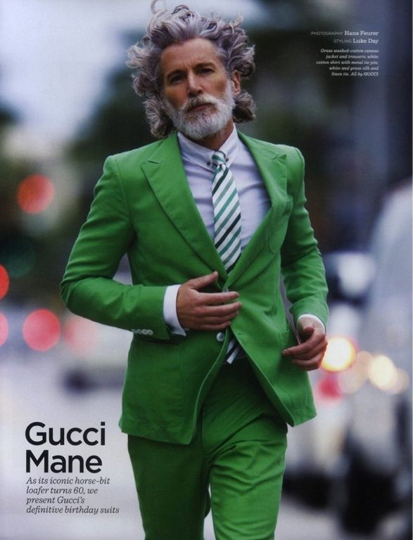 Great new trend of showing older guys with grey hair..I want to look like this when I am older..cool dude
