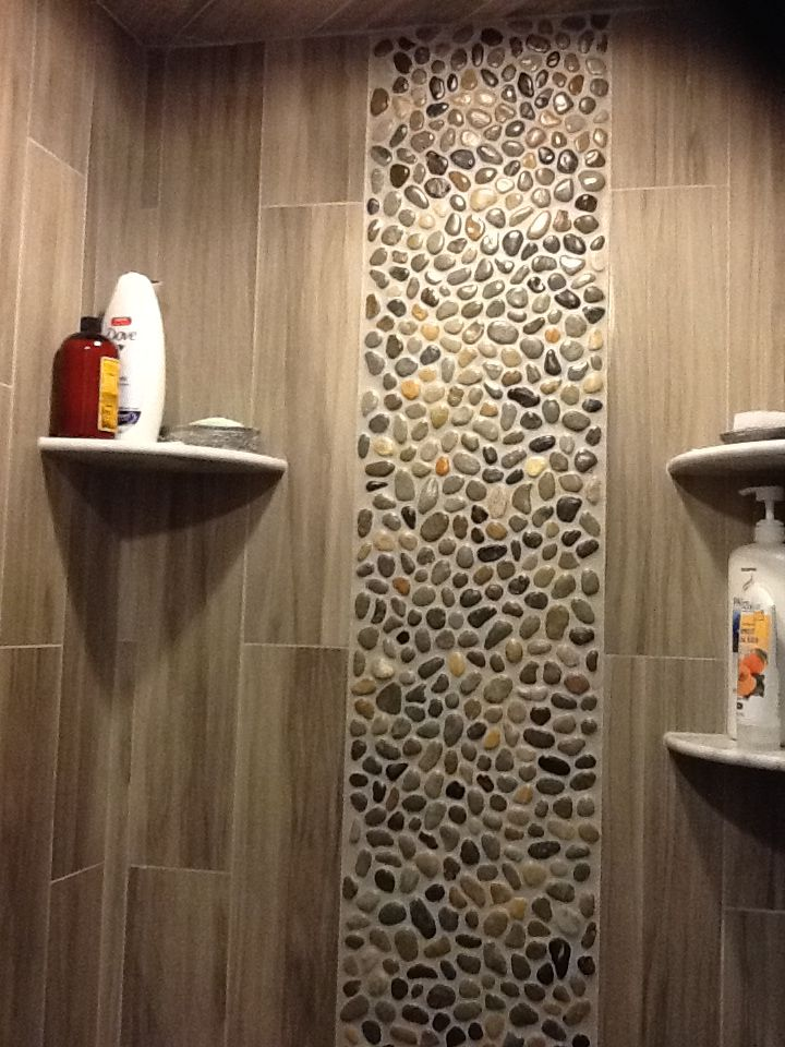 Master Bath Pale Pebble Tile Shower Floor Natural Neutral Wall Either Stone Or Wood Look In Similar Low Contrast Color