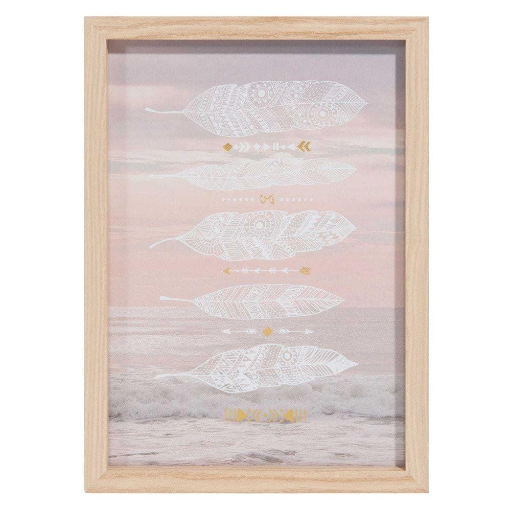 Tableau en bois 23 x 32 cm FEATHERS BY THE SEA