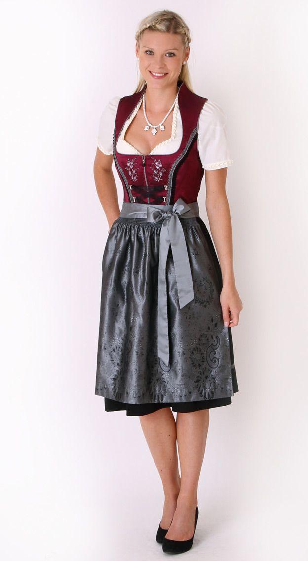 Midi Dirndl burgundy silver - Anastasia