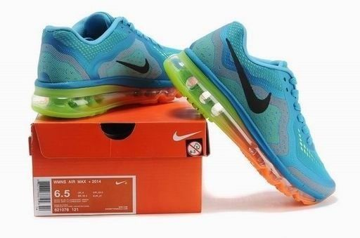 quite nice b7b4b dbd9f NIKE AIRMAX 2014 SHOES BLUE YELLOW ORANGE WOMAN S SIZE 8