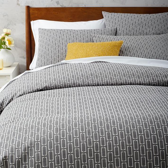 Mid Century Organic Bracket Geo Jacquard Duvet Cover Shams Modern Bed Sheets Modern Duvet Covers Modern Bed Set