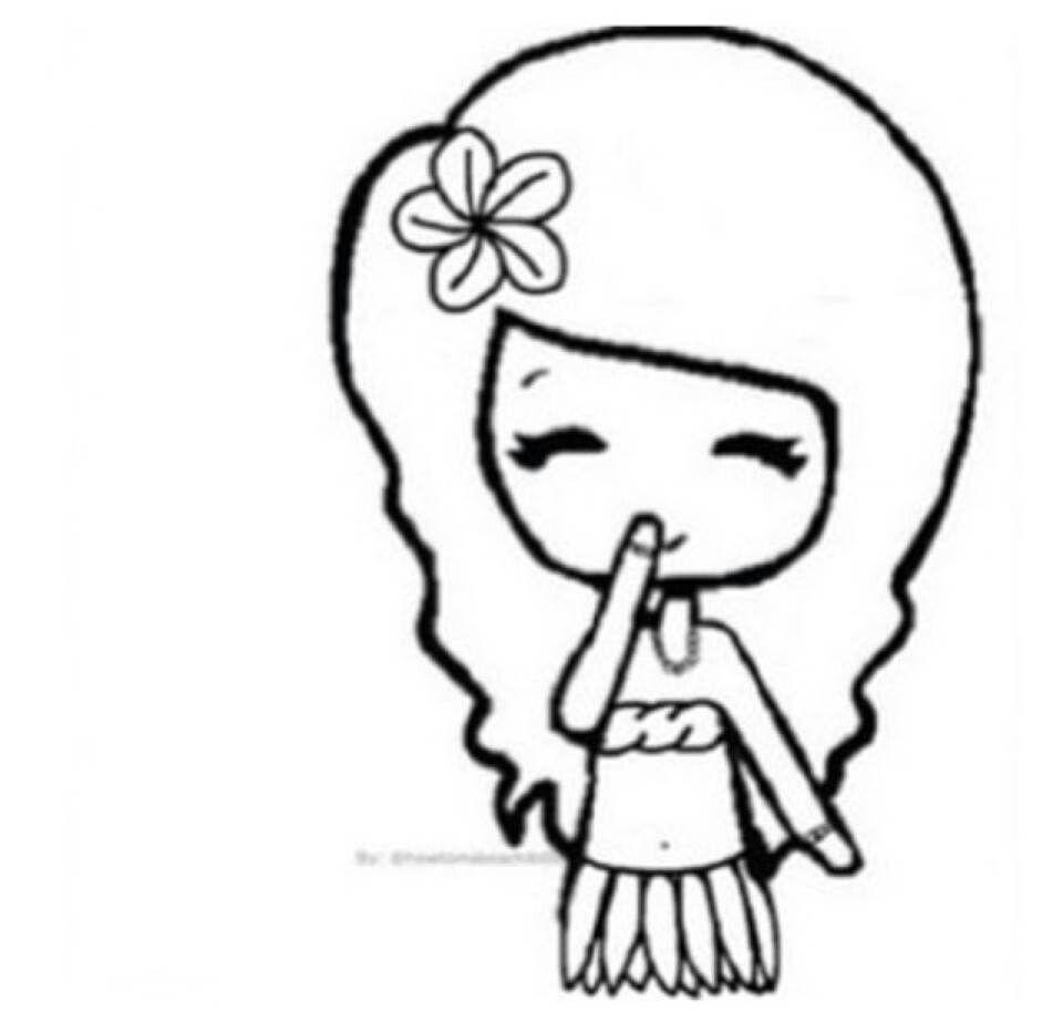 Hawaii Girl Bff Drawings Cute Art Beautiful Easy Drawings
