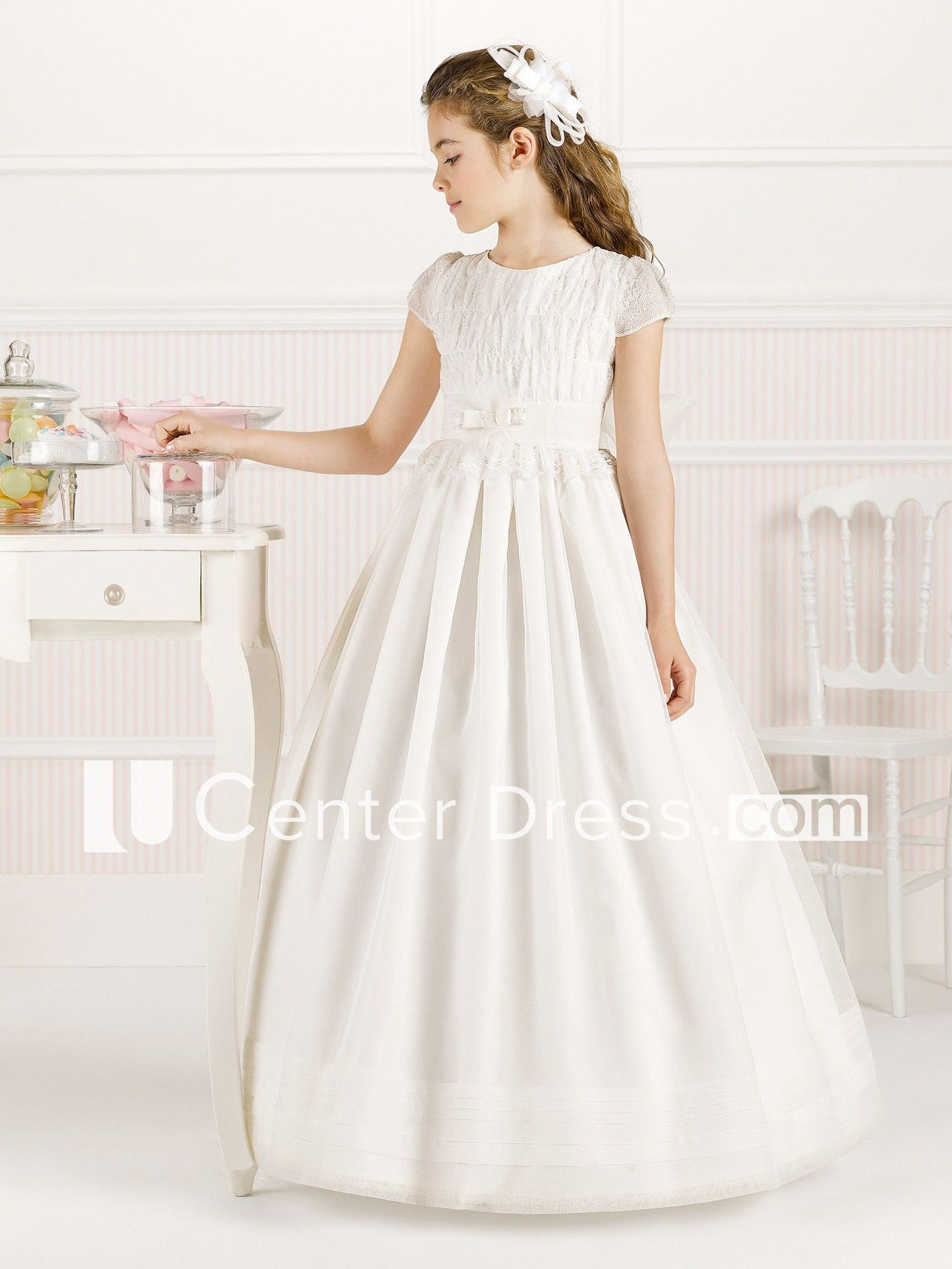 13ba6fcf7 A-Line Jewel-Neck Short-Sleeve Lace Long Flower Girl Dress With Pleats And  Bow - UCenter Dress