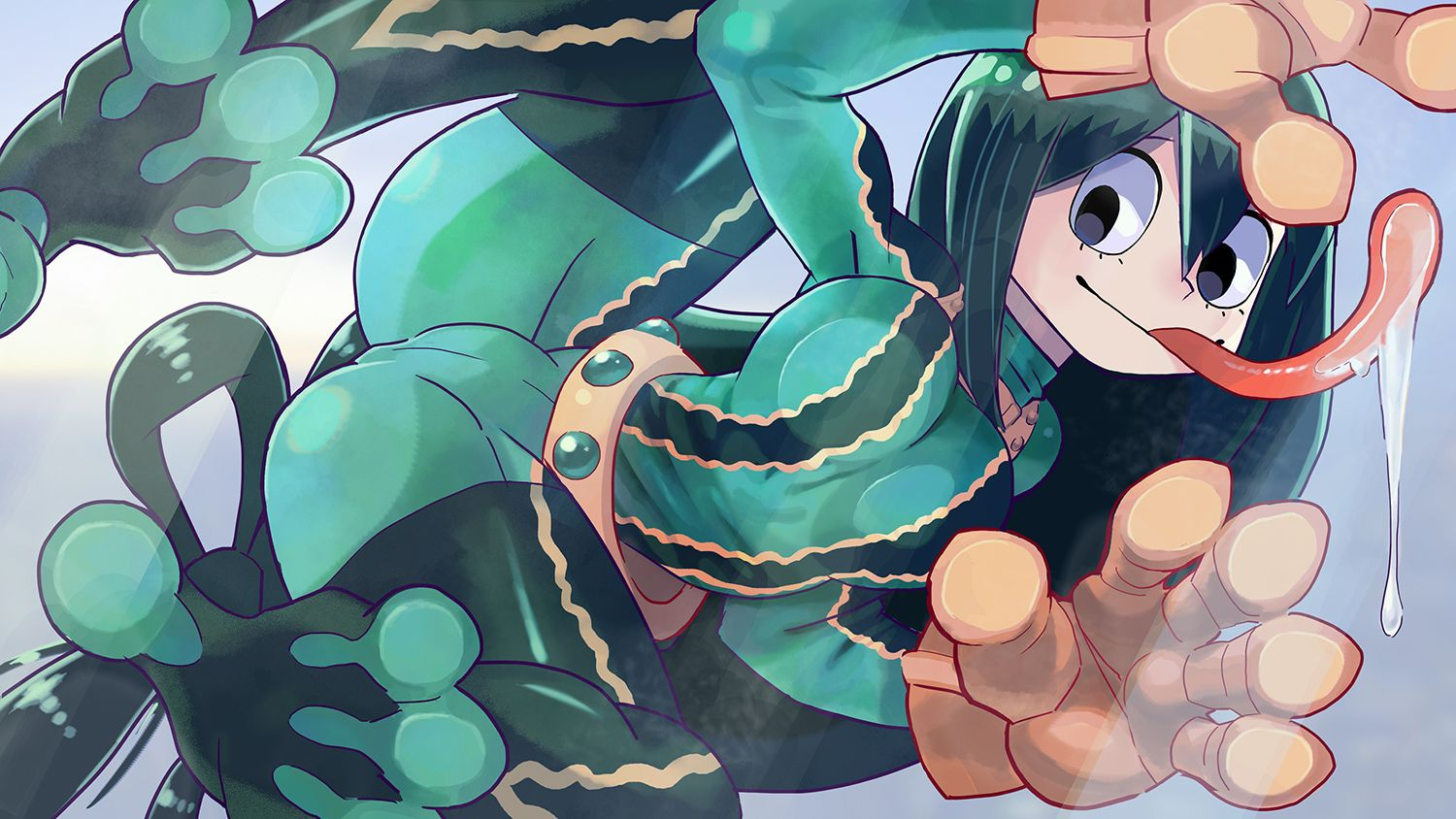 1girl 27_degrees against_glass all_fours asui_tsuyu belt black_eyes black_hair bodysuit boku_no_hero_academia breast_press breasts_on_glass brown_gloves frog_girl glass gloves goggles goggles_on_head hair_rings long_hair long_tongue low-tied_long_hair saliva smile solo tongue tongue_out webbed_feet