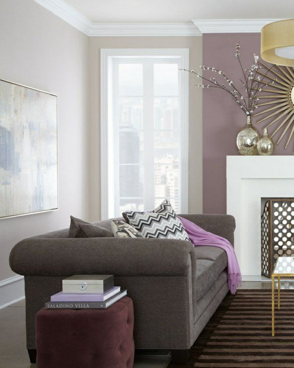 wohnzimmer wandfarbe hellgrau wandfarben gestaltung rosa lila - Wohnzimmer Modern Lila