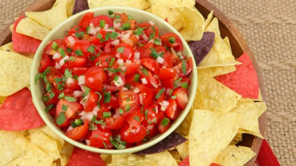 Pico de Gallo   This favourite Mexican salsa is a topping for tacos, salads and nachos. Use diced seeded plum tomatoes, if desired.  Ingredients:  3 cups (750 mL) diced grape or cherry tomatoes   3/4 cup (175 mL) finely diced white onion or red onion   1/4 cup (60 mL) chopped fresh coriander   2 tbsp (30 mL) lime juice   1 tbsp (15 mL) minced jalapeno pepper  1/4 tsp (1 mL) salt
