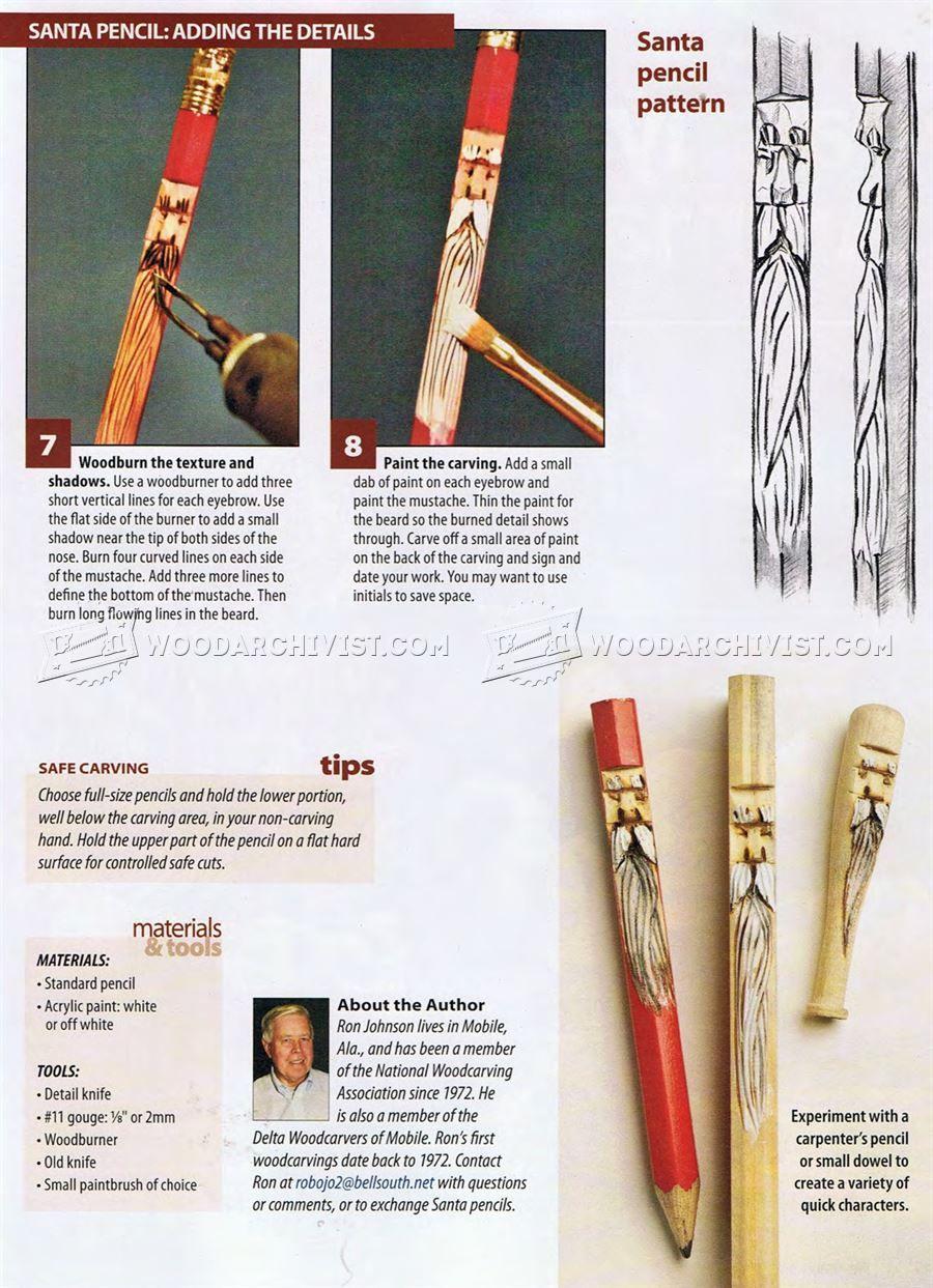 Whittling Santa Pencils Wood Carving Patterns Wood Carving
