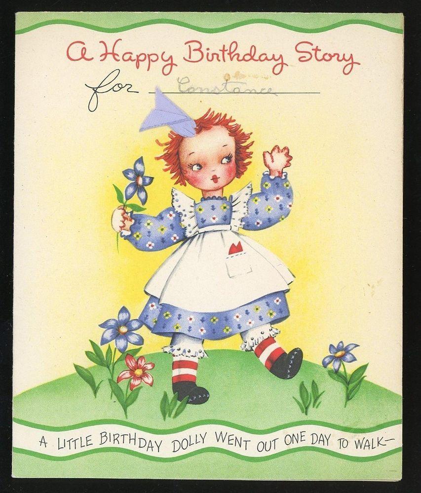 Raggedy Ann Birthday Greeting Card Story Real Hair Ribbon