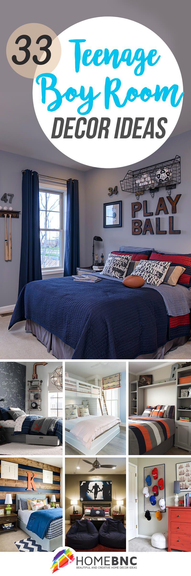 33 Cool Teenage Boy Room Decor Ideas Teenage Boy Room Boys Room