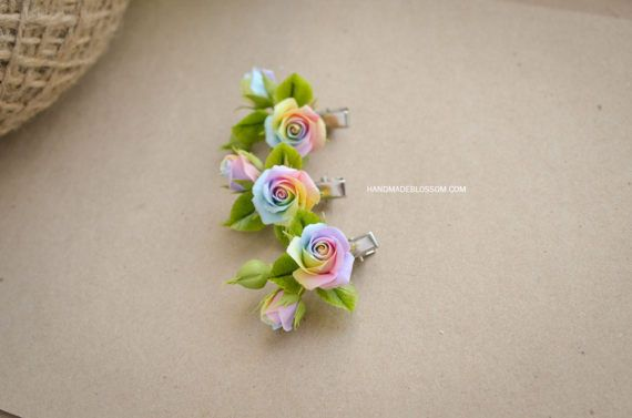 Rainbow rose hairpin, pastel rainbow rose accessories, polymer clay rainbow roses, rainbow rose hair accessories, Handmadeblossom #rainbowroses